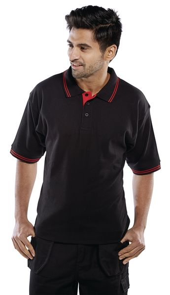Two Tone Polo Shirt Black And Red L Large Polo Shirt