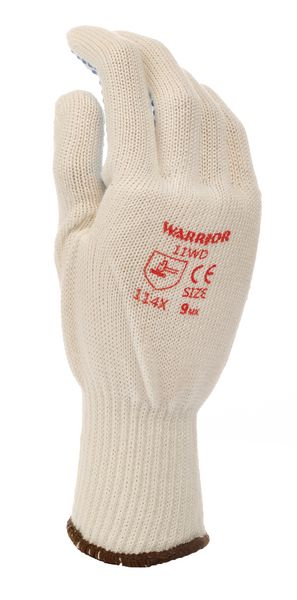 Knitted Grip Dotted Palm White Size 8 Gloves