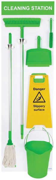 1995 x 605 mm Large Wet And Dry Shadow Board Green Cleaning Station