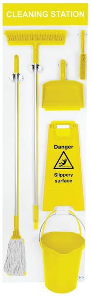 1995 x 605 mm Large Wet And Dry Shadow Board Yellow Cleaning Station