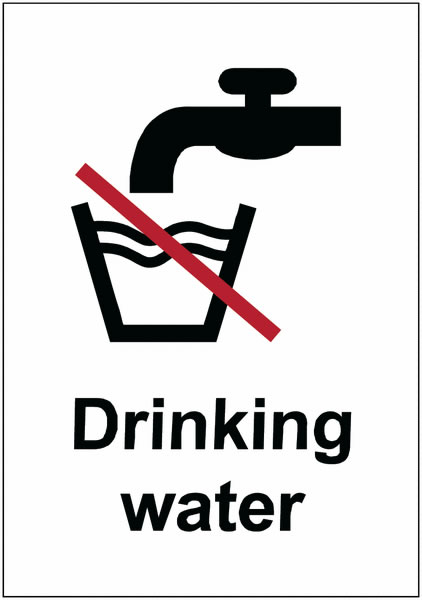 Drinking Water - Symbol + Text