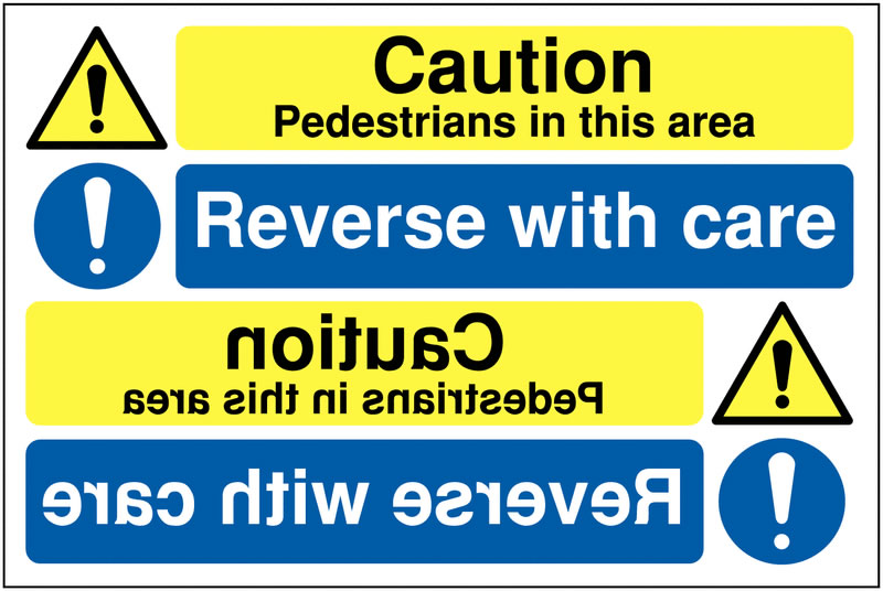 Mirrored Hazard / Mandatory Sign Rigid Plastic Safety Signs