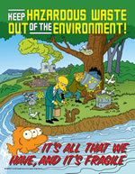 Keep hazardous waste out of the environment - simpson safety poster - 400 x 600mm wipe clean encapsulated simpson poster. sign.