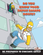 Do you know know your safest escape route? - simpson safety poster - 400 x 600mm wipe clean encapsulated simpson poster. sign.