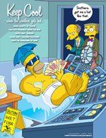 Keep cool - simpson safety poster - 400 x 600mm wipe clean encapsulated simpson poster. sign.
