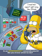 In an emergency seconds count - simpson safety poster - 400 x 600mm wipe clean encapsulated simpson poster. sign.