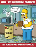 Check labels on chemical containers - simpson safety poster - 400 x 600mm wipe clean encapsulated simpson poster. sign.