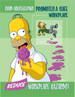 Good housekeeping promotes a safe workplace - simpson safety poster - 400 x 600mm wipe clean encapsulated simpson poster. sign.
