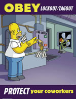 Obey lockout/tagout - simpson safety poster - 400 x 600mm wipe clean encapsulated simpson poster. sign.