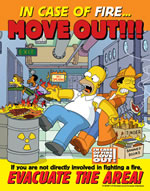 In case of fire...move out - simpson safety poster - 400 x 600mm wipe clean encapsulated simpson poster. sign.