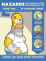 Hazards can occur in office enviroments too - simpson safety poster - 400 x 600mm wipe clean encapsulated simpson poster. sign.