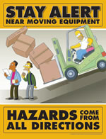 Stay alert near moving equipment - simpson safety poster - 400 x 600mm wipe clean encapsulated simpson poster. sign.