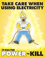 Take care when using electricity - simpson safety poster - 400 x 600mm wipe clean encapsulated simpson poster. sign.