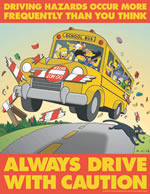 Driving hazards occur more frequently than you think - simpson safety poster - 400 x 600mm wipe clean encapsulated simpson poster. sign.