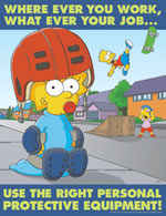 Use the right personal protective equipment - simpson safety poster - 400 x 600mm wipe clean encapsulated simpson poster. sign.