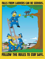 Falls from ladders can be serious - simpson safety poster - 400 x 600mm wipe clean encapsulated simpson poster. sign.