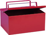 Ash Collecting Bin. Fully closable lid and powder coated steel construction prevent accidental fires. sign.