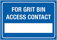A3 For Grit Bin Access Contact Self Adhesive Vinyl Safety Labels