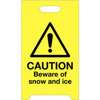 A Board Caution Beware of Snow And Ice Safety Signs